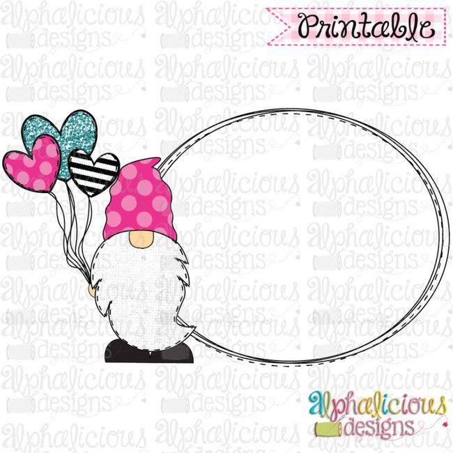 Gnome with Balloon Frame- Pink, Black, Turq - Alphalicious Designs