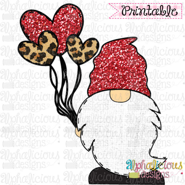 Gnome with Balloons-Red and Leopard - Alphalicious Designs
