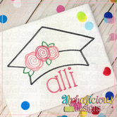 Graduation Hat with Flowers-Scribble