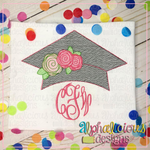 Graduation Hat with Flowers-Sketch - Alphalicious Designs