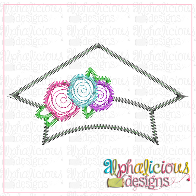 Graduation Hat with Flowers-Zig Zag - Alphalicious Designs
