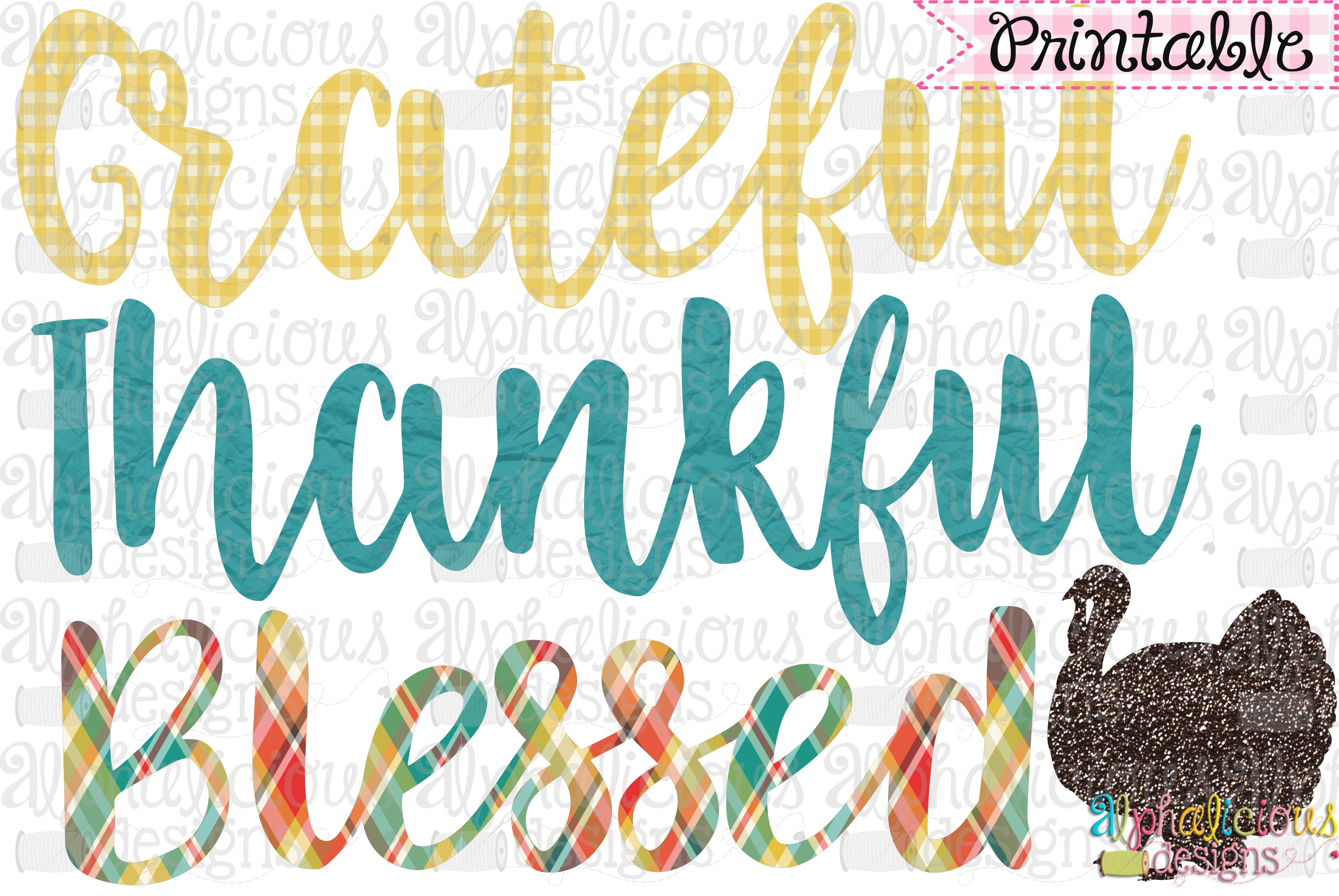 image regarding Thankful Printable called Thankful Grateful Lucky-Printable