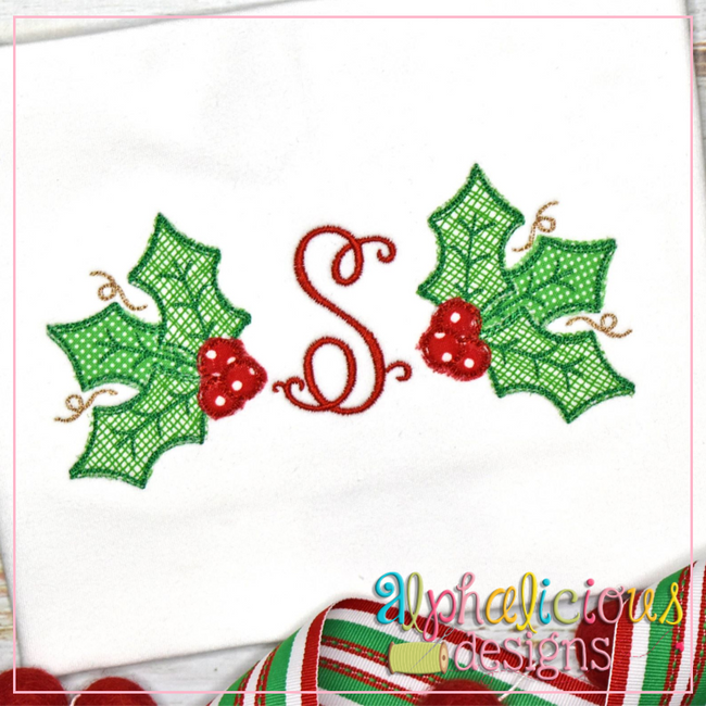 Holly-Scribble Applique - Alphalicious Embroidery Designs