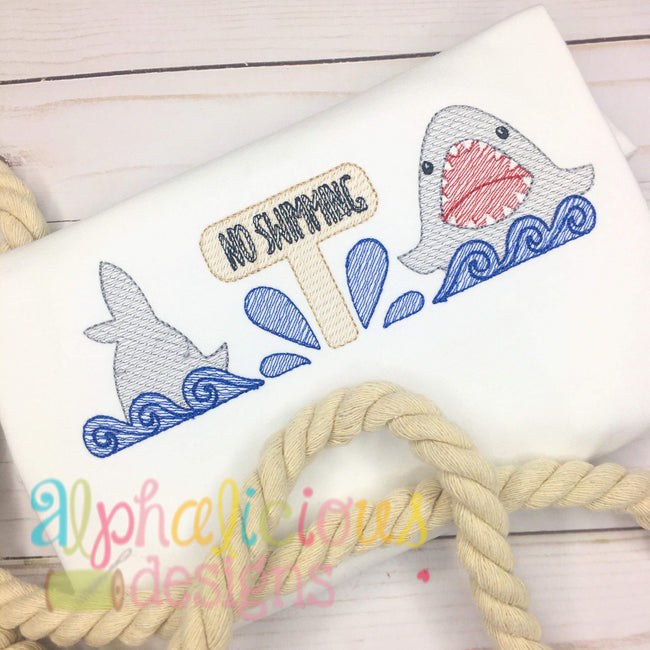 No Swimming Shark Sketch Embroidery Three in a Row - Alphalicious Embroidery Designs