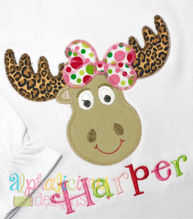 Mrs. Moose-ZigZag- Applique - Alphalicious Embroidery Designs