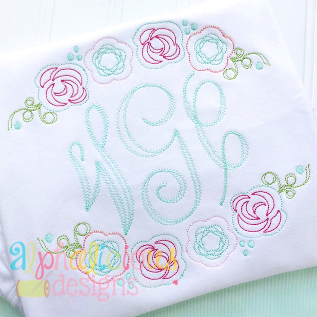 Floral Applique Swag- Triple Bean - Alphalicious Designs