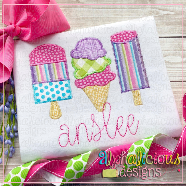 Ice Cream Three In A Row-ZigZag - Alphalicious Designs