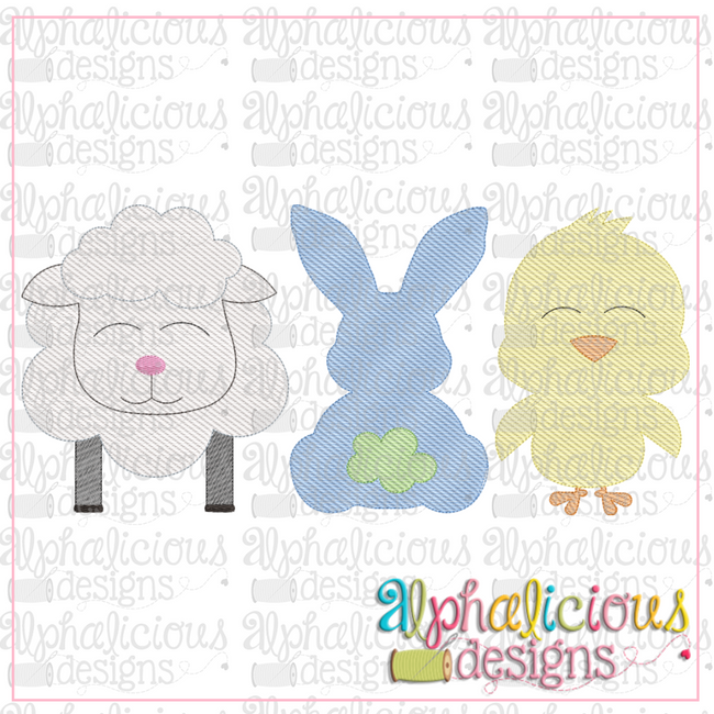 Lamb-Bunny-Chick Three In A Row-Sketch - Alphalicious Designs