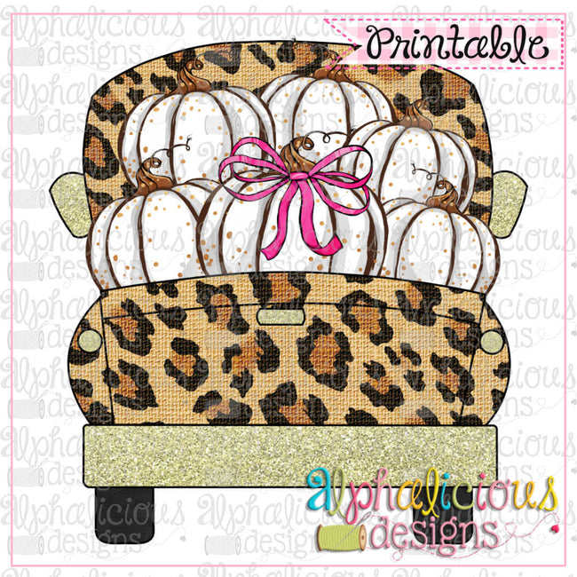 Leopard and Pumpkins Truck - Alphalicious Embroidery Designs