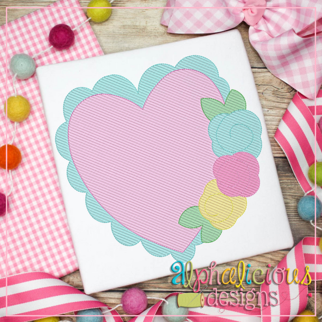 Scalloped Heart with Flowers- Sketch - Alphalicious Designs