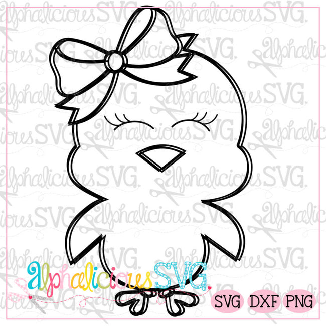 Little Chick with Bow-Black Line -SVG - Alphalicious Designs