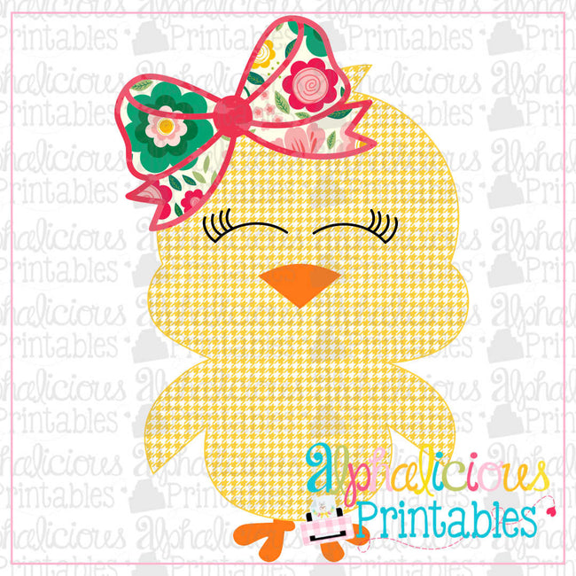 Little Chick with Bow-Floral-Printable