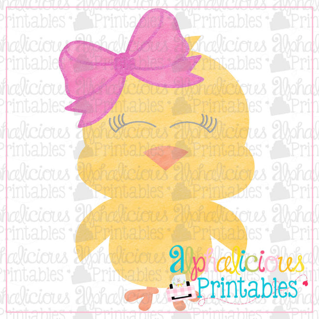 Little Chick with Bow-Watercolor-Printable - Alphalicious Designs