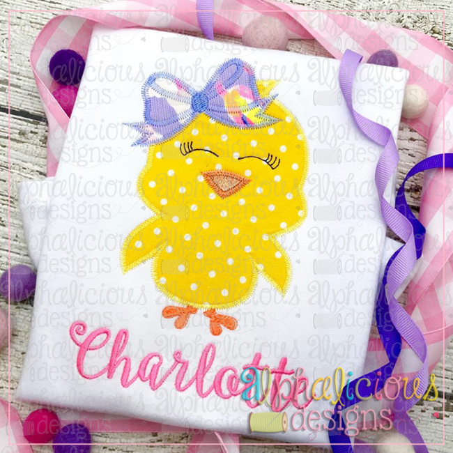 Little Chick with Bow-Zig Zag - Alphalicious Designs