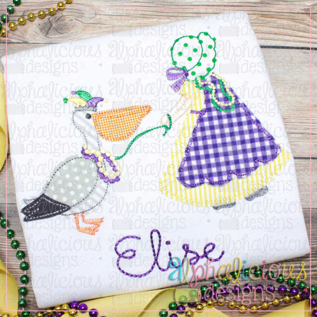 Mardi Gras Pet Pelican-Triple Bean-Girl - Alphalicious Designs