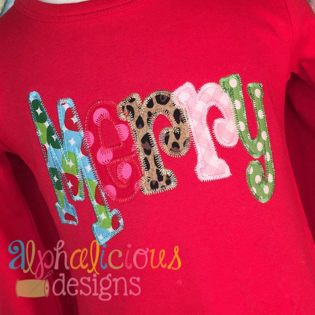 Merry Applique Word-ZigZag - Alphalicious Designs