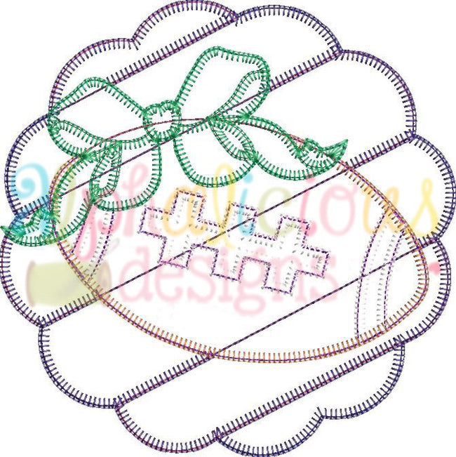 Patchwork Scallop Frame with Football with Bow-Blanket - Alphalicious Embroidery Designs