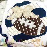 Patchwork Scallop Frame with Football with Bow-Triple Bean