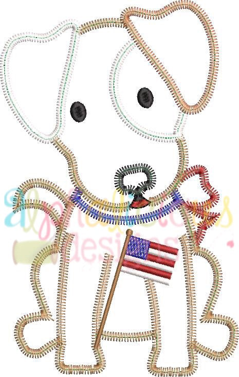 Patriotic Pup with Bow-Zigzag - Alphalicious Embroidery Designs