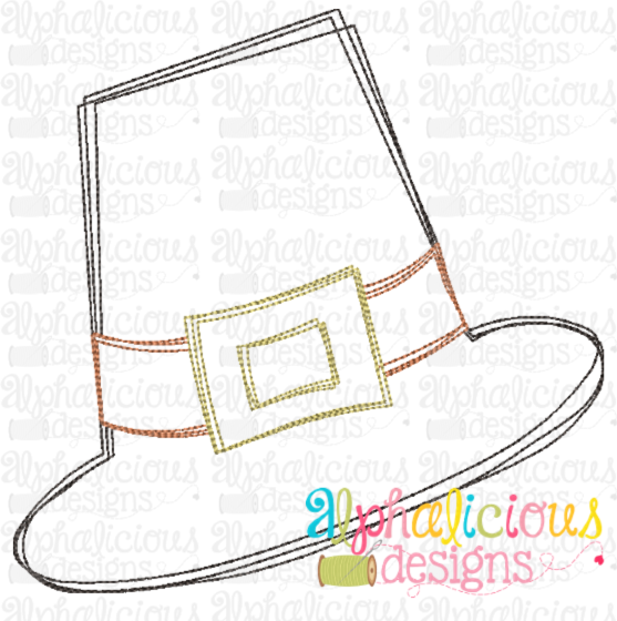 Pilgrim Hat-Scribble - Alphalicious Embroidery Designs