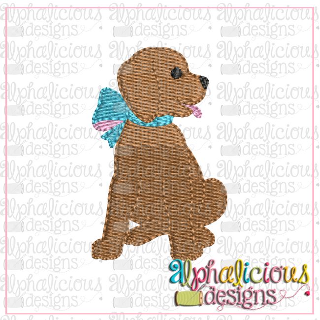 Pup with Bow-MINI-Fill - Alphalicious Designs