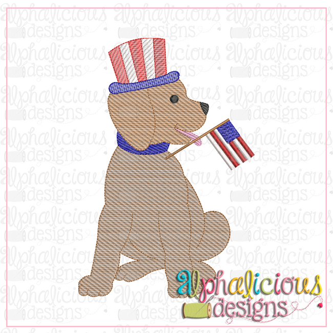 Pup With Flag-Sketch - Alphalicious Designs