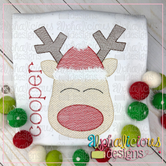 Red Nose Reindeer with Hat-Sketch