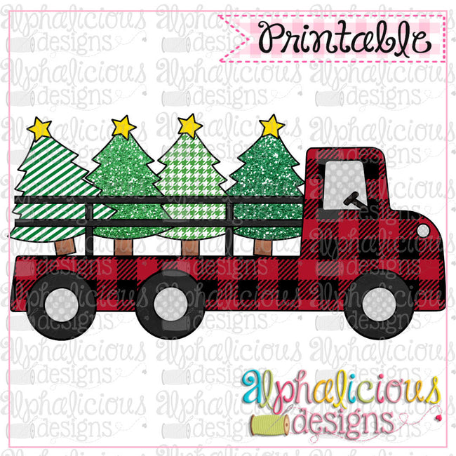 Red Buffalo Plaid Truck - Alphalicious Designs