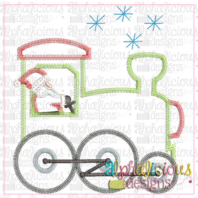 Santa Train-ZigZag - Alphalicious Embroidery Designs