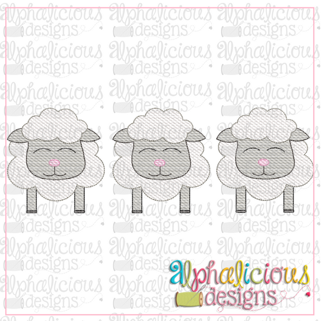 Sheep-Three In A Row-Sketch - Alphalicious Designs