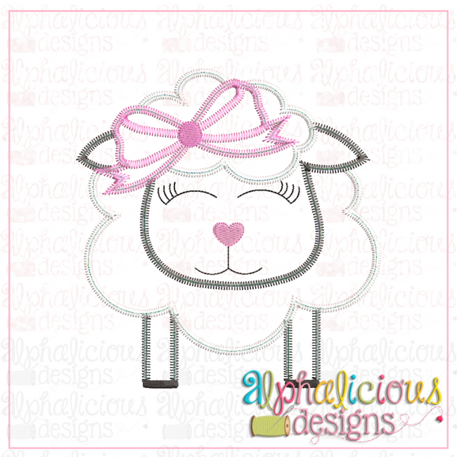 Sheep With Bow-Zig Zag - Alphalicious Designs