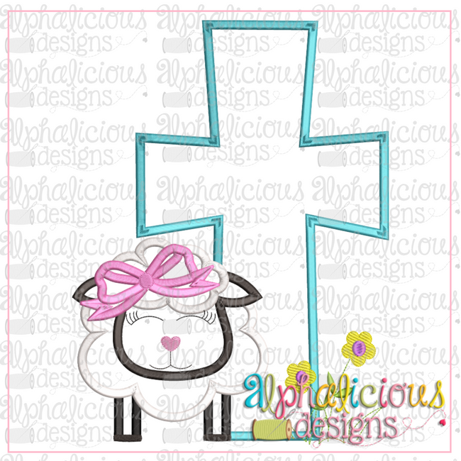Sheep with Bow and Cross-Satin - Alphalicious Designs