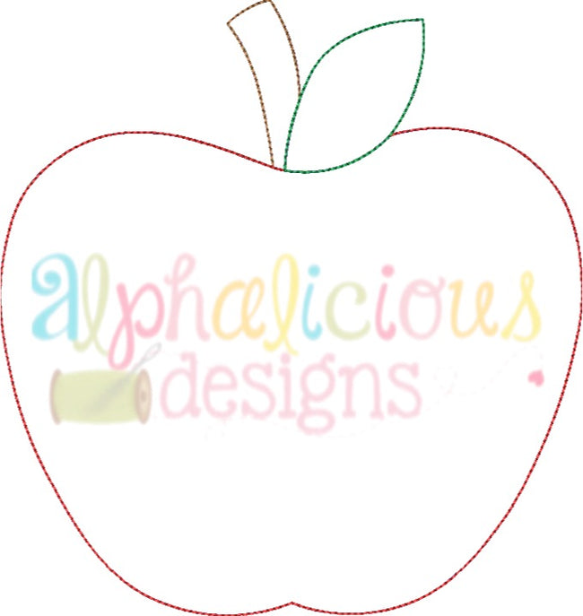 Simple Applique Apple- Triple Bean - Alphalicious Designs