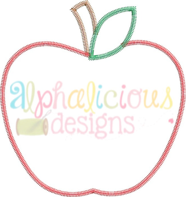 Simple Applique Apple- ZigZag - Alphalicious Embroidery Designs