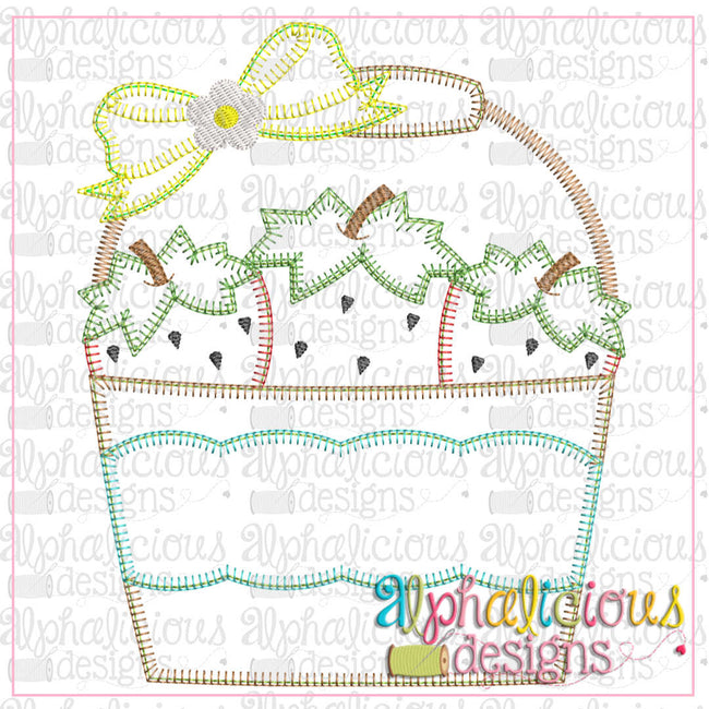 Strawberry Bucket with Bow-Blanket - Alphalicious Designs