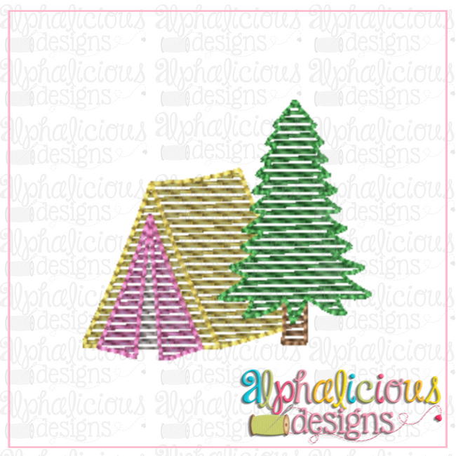 Tent and Tree-MINI-Sketch - Alphalicious Designs
