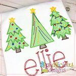 Tree Trio-Sketch - Alphalicious Embroidery Designs