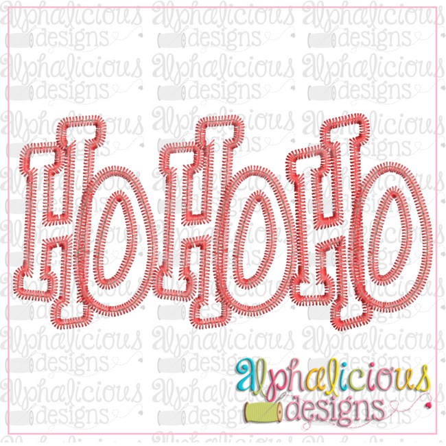 HO HO HO Applique Word-ZigZag - Alphalicious Embroidery Designs
