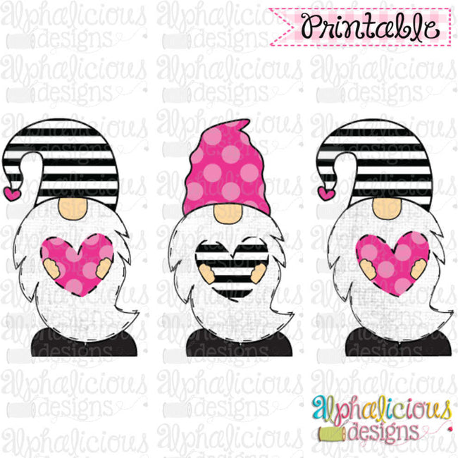 Valentines Gnomes-TIAR-Pink and Black - Alphalicious Designs