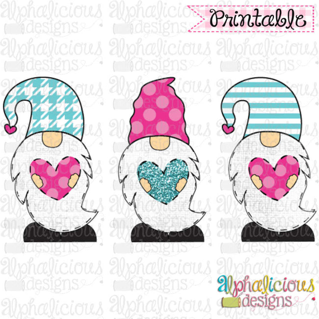 Valentines Gnomes-TIAR-Pink and Turquoise - Alphalicious Designs