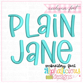 Plain Jane Satin Embroidery Font