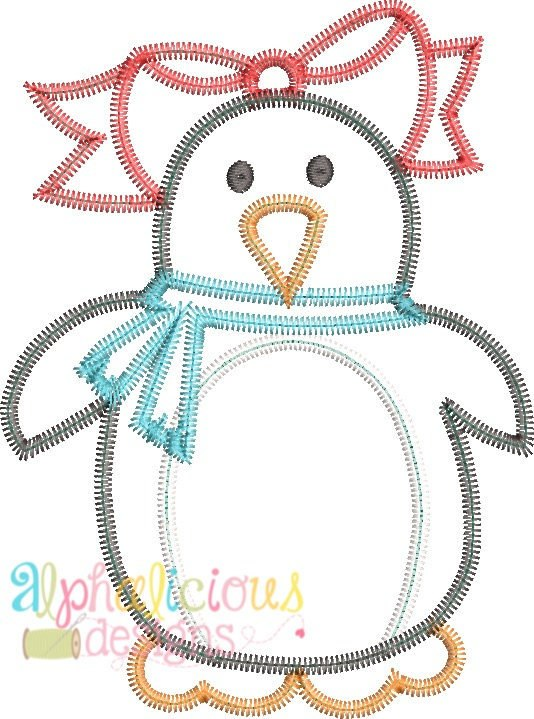 Winter Penguin Girl Applique Design-ZigZag