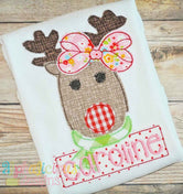Mrs. Red Nosed Reindeer- Triple Bean Applique