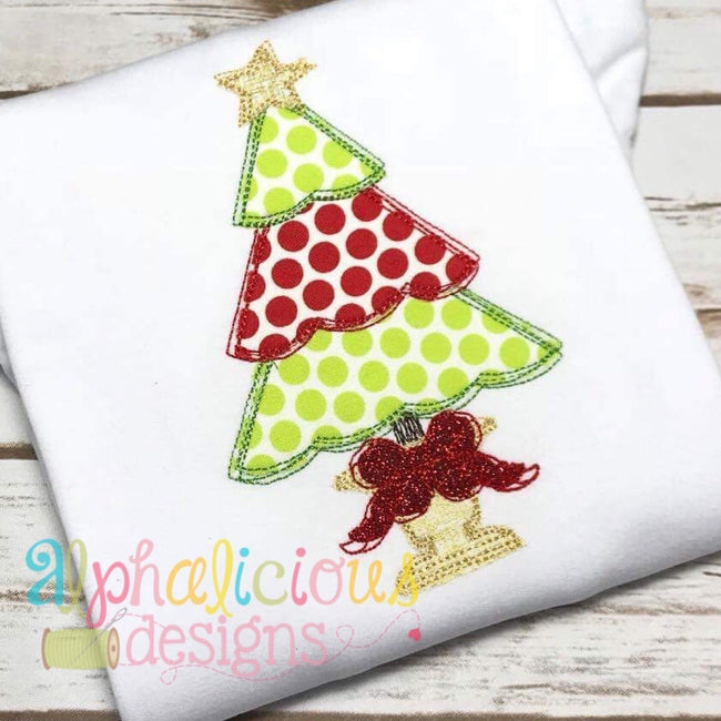 Fancy Scribble Holiday Tree- Applique - Alphalicious Designs