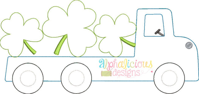 Flatbed Truck with Shamrocks Applique - Triple Bean - Alphalicious Designs