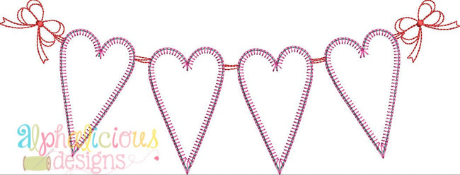 String of Hearts Valentine Bunting Applique Design- Blanket