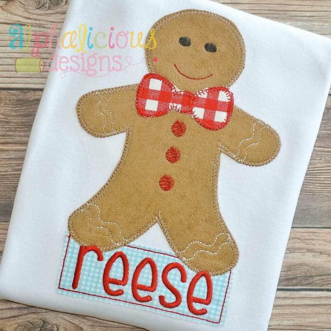 Mr. Gingerbread Applique-Blanket - Alphalicious Designs