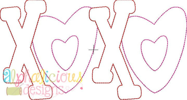 Valentine's XOXO Applique Design-Triple Bean - Alphalicious Designs