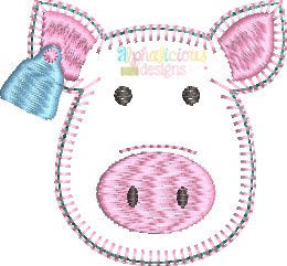 Farm Pig with Ear Tag Feltie - Blanket - Alphalicious Designs
