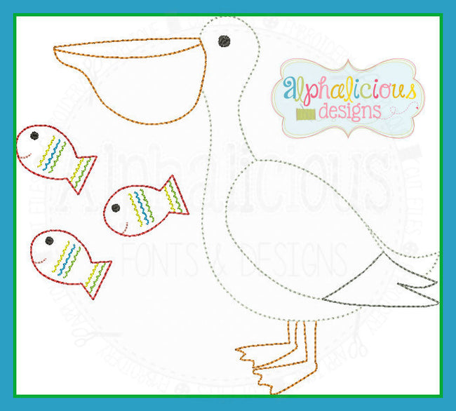Vintage Pelican with Fish - Alphalicious Designs